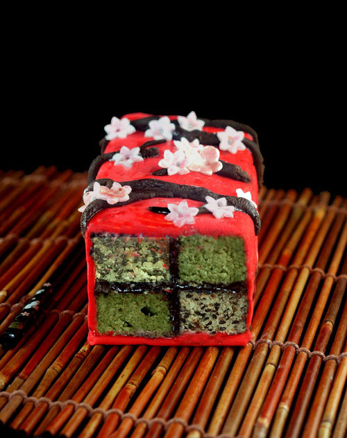 Japanese Inspired Battenberg Cake with Cashew Marzipan