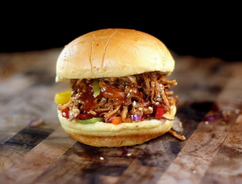 Crockpot Pulled Honey Sesame Chicken Sliders with Bell Pepper Slaw