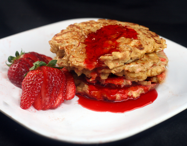 Peanut Butter (or Almond Butter) Matzo Brei with Fresh Strawberry Syrup or Jam