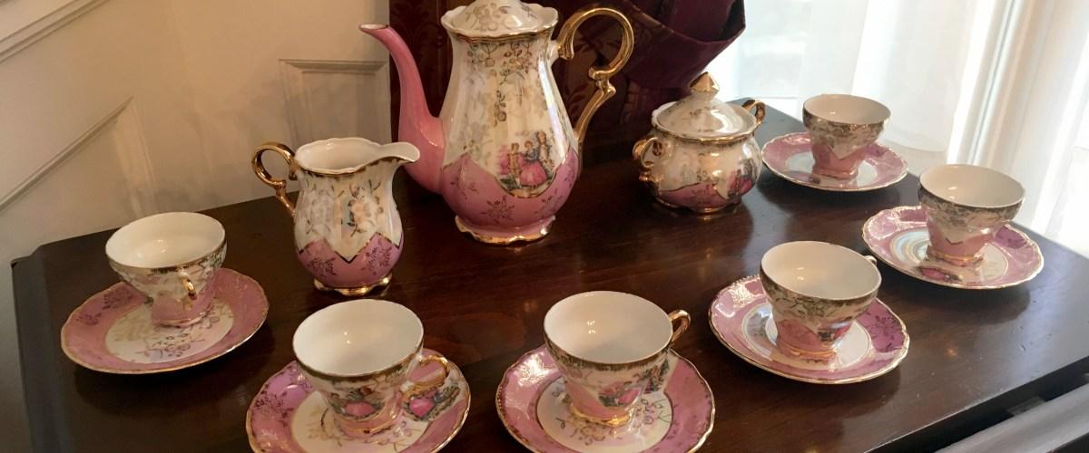 Antique tea set on a table
