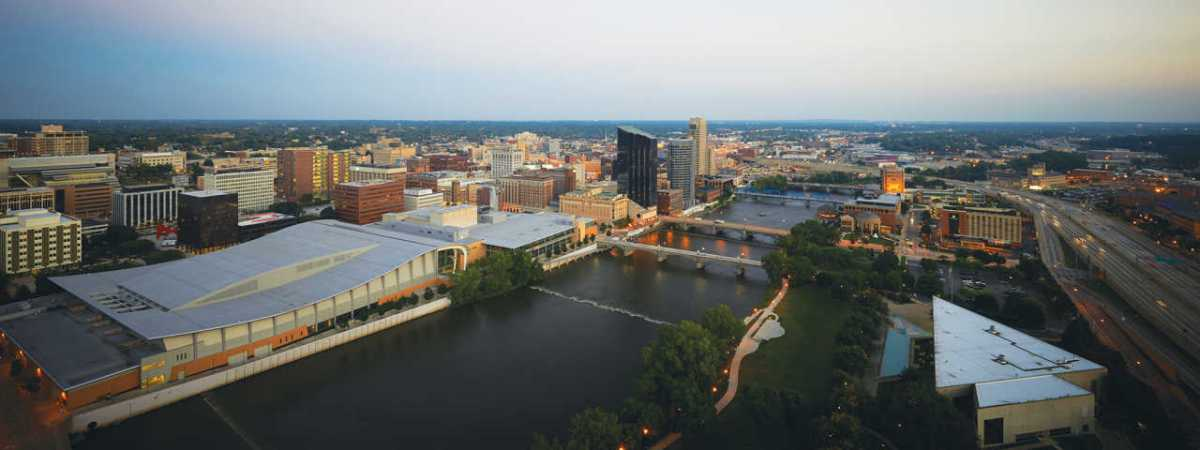 an aerial photograph of downtown Grand Rapids