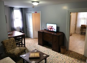 Third floor landing with TV