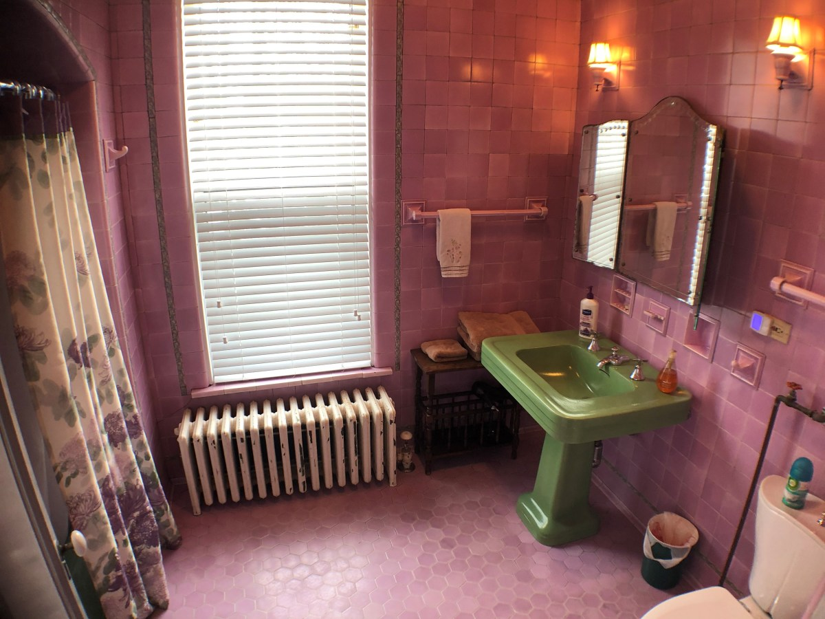 This Pink bathroom was tiled in the 1930s