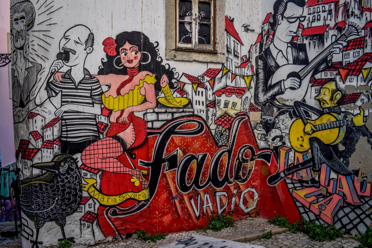 Lisbon street art Fado mural Portugal