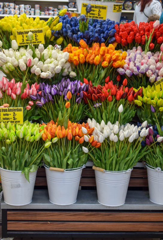Wooden tulips at Amsterdam Flower market