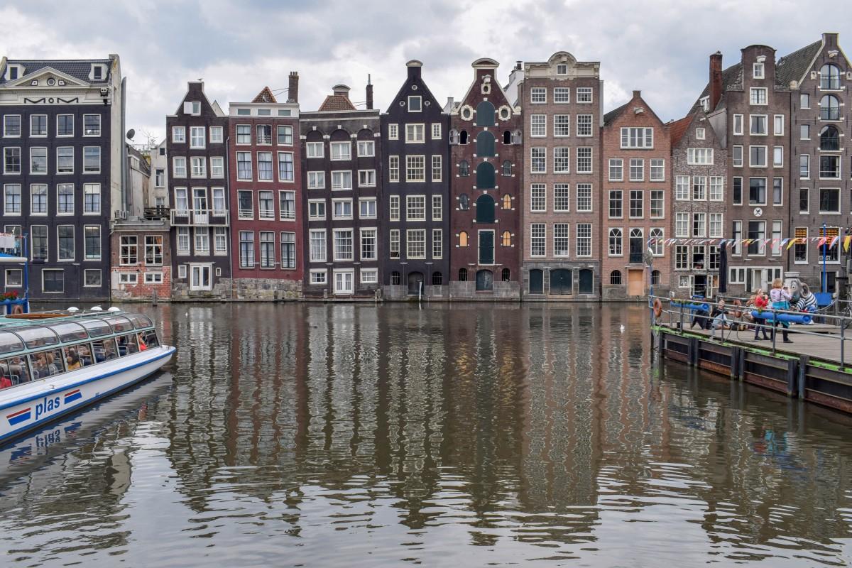 Damrak in the rain Amsterdam