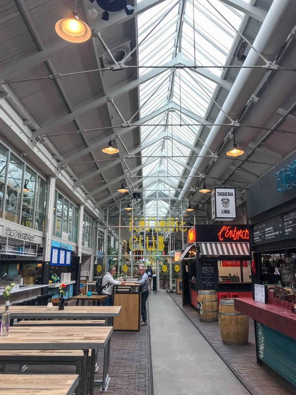Street food stalls at Foodhallen Amsterdam