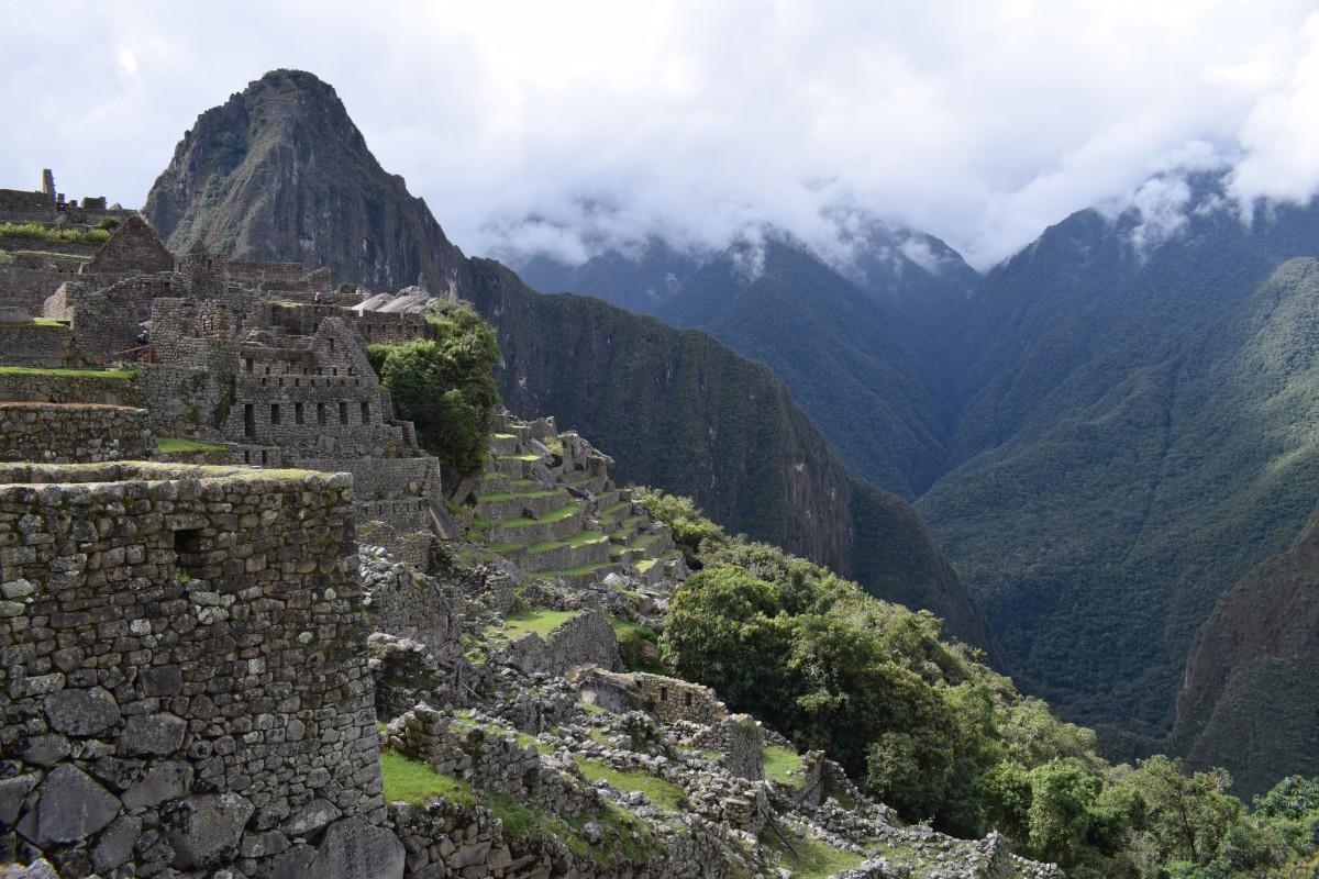 Machu Picchu mountains in fog