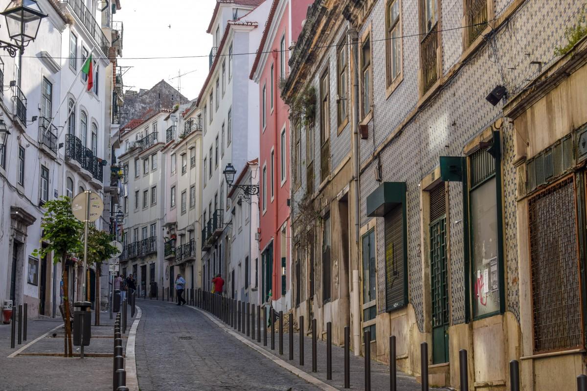 Alfama streetsin Lisbon Portugal