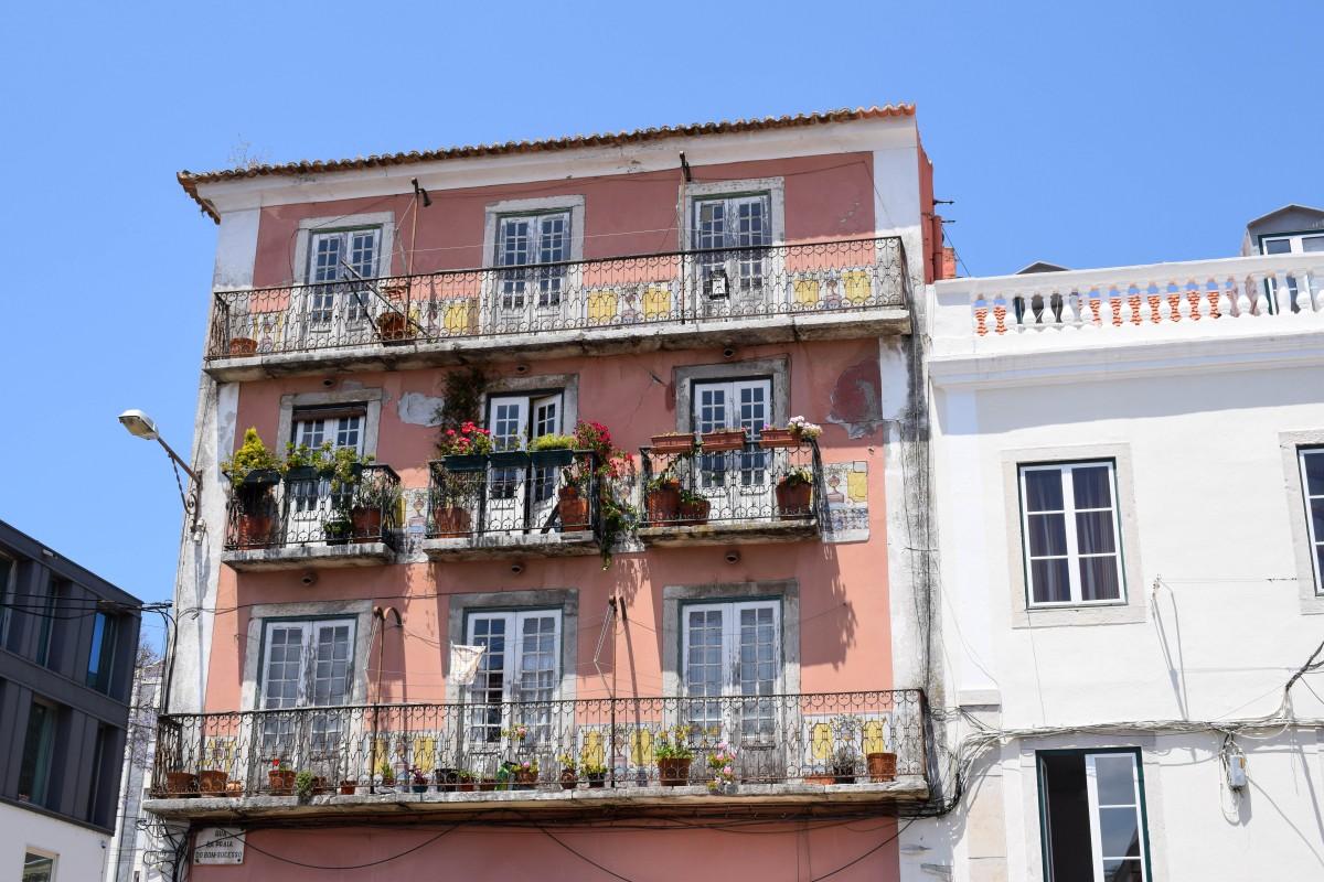 Colourful Alfama house in Lisbon Portugal