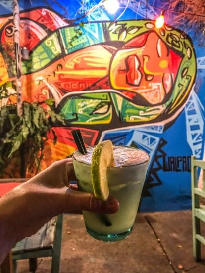 Pisco sour cocktail against art in Viracocha restaurant, Salta Argentina