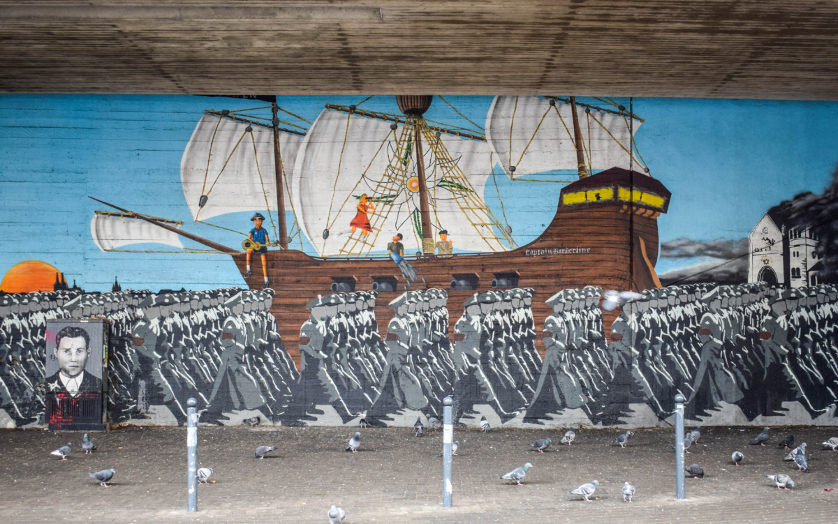 Ehrenfeld street art tribute to Eidelwiesspiraten in Cologne