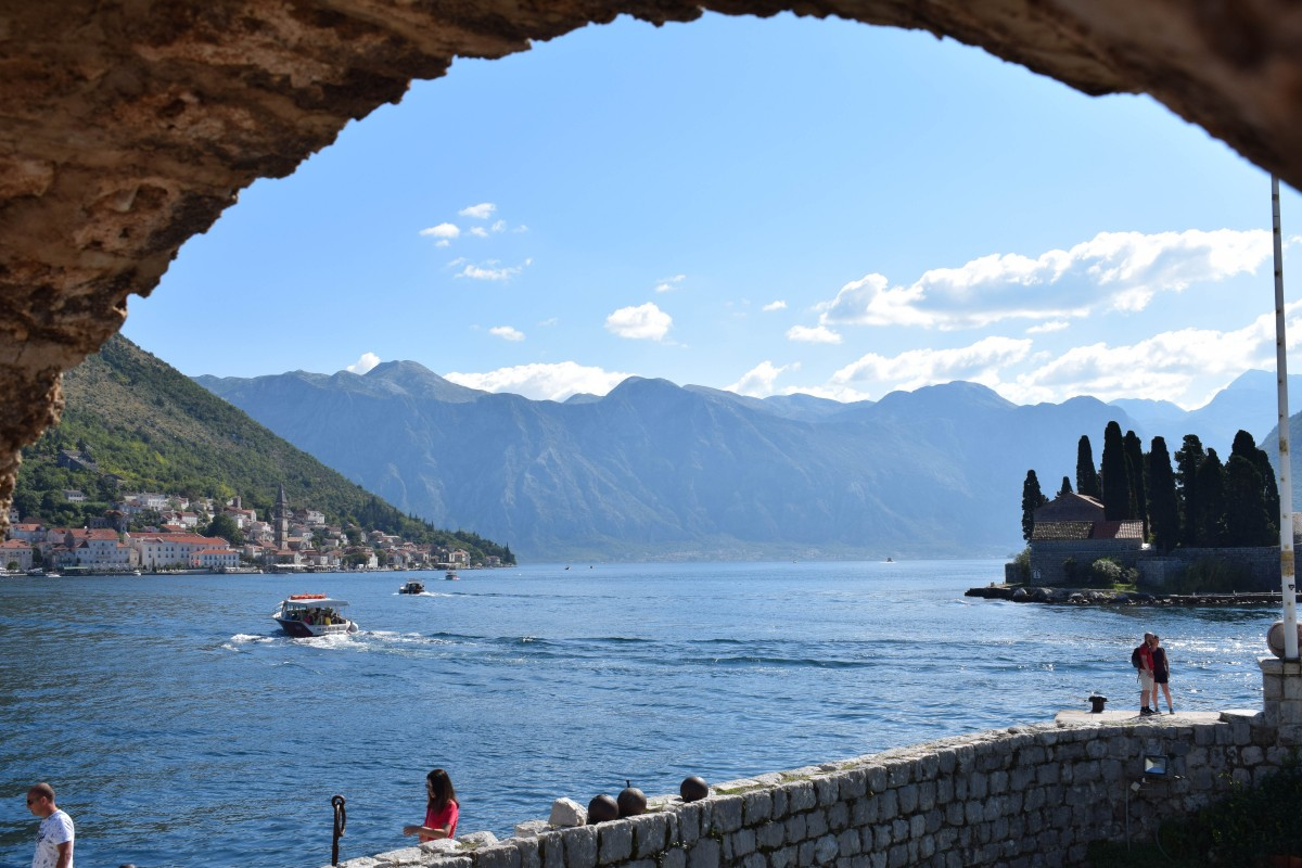 View of Perast from Our Lady of the Rocks in Montenegro