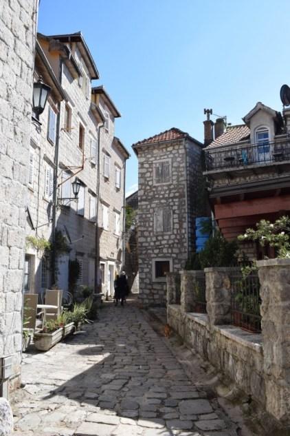 Old town streets of Perast, Montenegro, Bay of Kotor - European holidays
