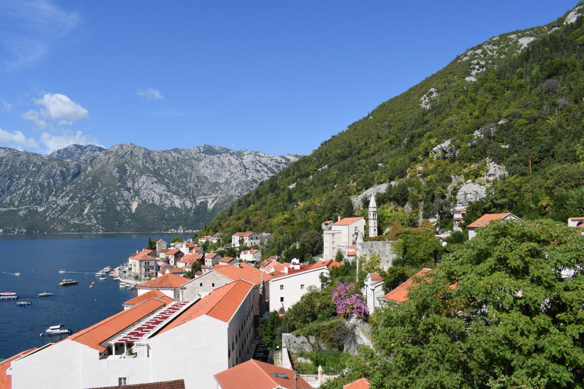 View from St NIcholas Church bell tower in Perast, Montenegro