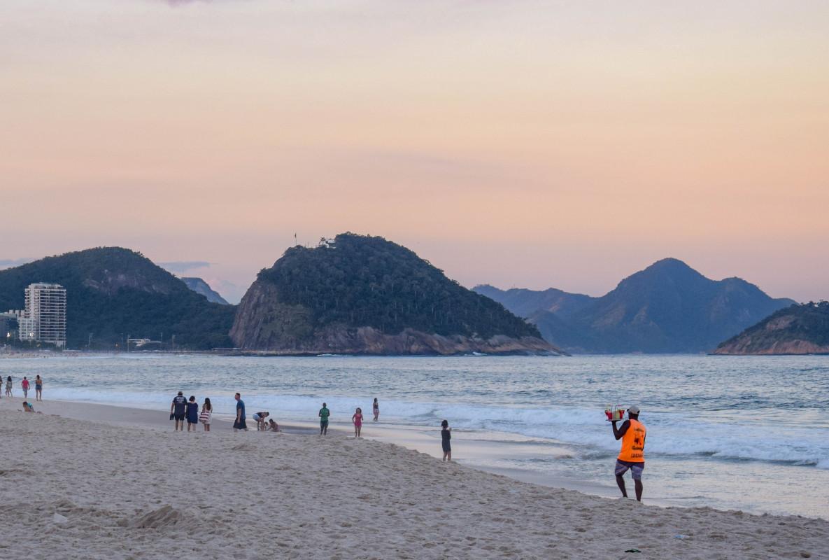 Copacabana beach Rio de Janeiro at sunset brazil