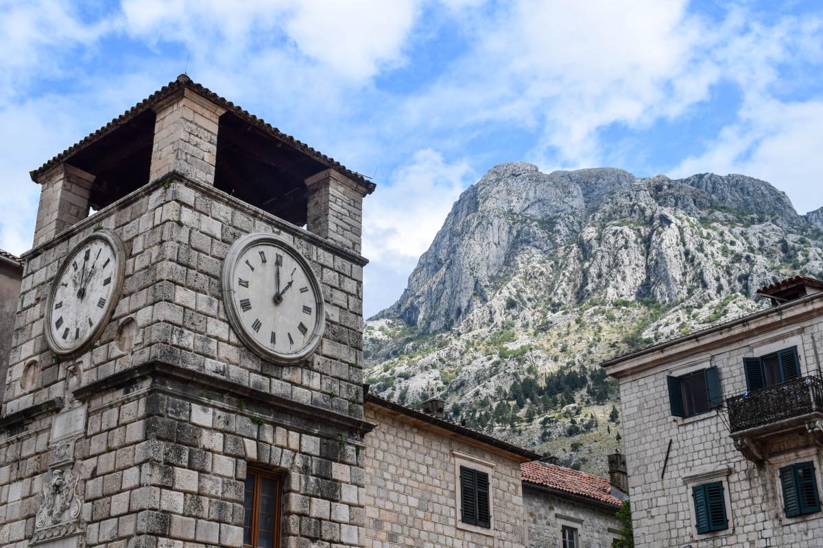 Kotor clocktower old town montenegro
