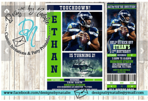 custom made Seattle Seahawks birthday party invitations