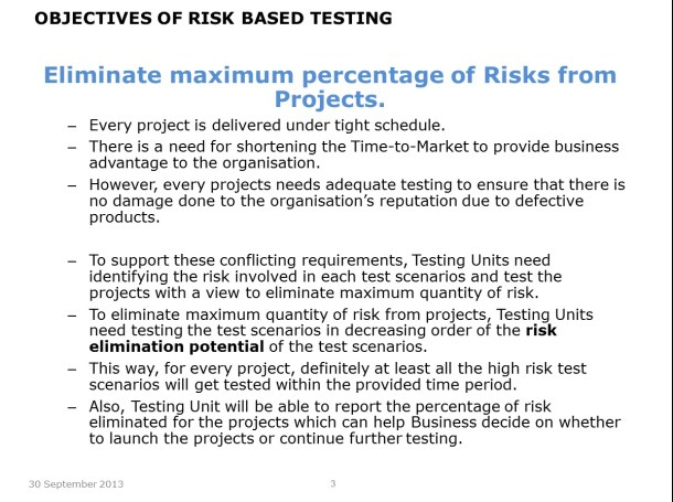 Risk Based Testing – Slide 3