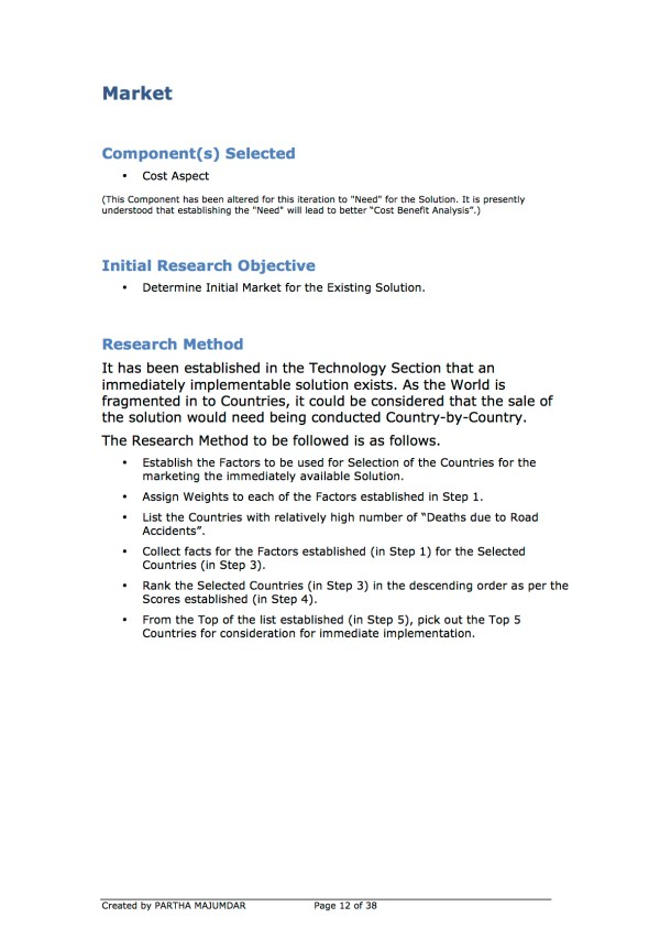 Preventing and or Reducing Road Accidents - Technology + Market + Implementation - Iteration 1 - 20131104 - Page 12