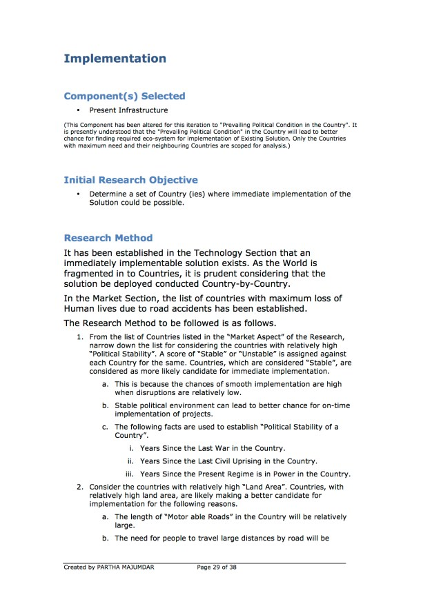 Preventing and or Reducing Road Accidents - Technology + Market + Implementation - Iteration 1 - 20131104 - Page 29