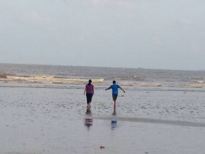Nidhish and Ranoo in the Sea