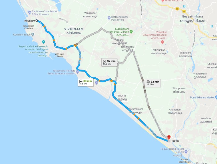 Route Map - Kovalam to Poovar