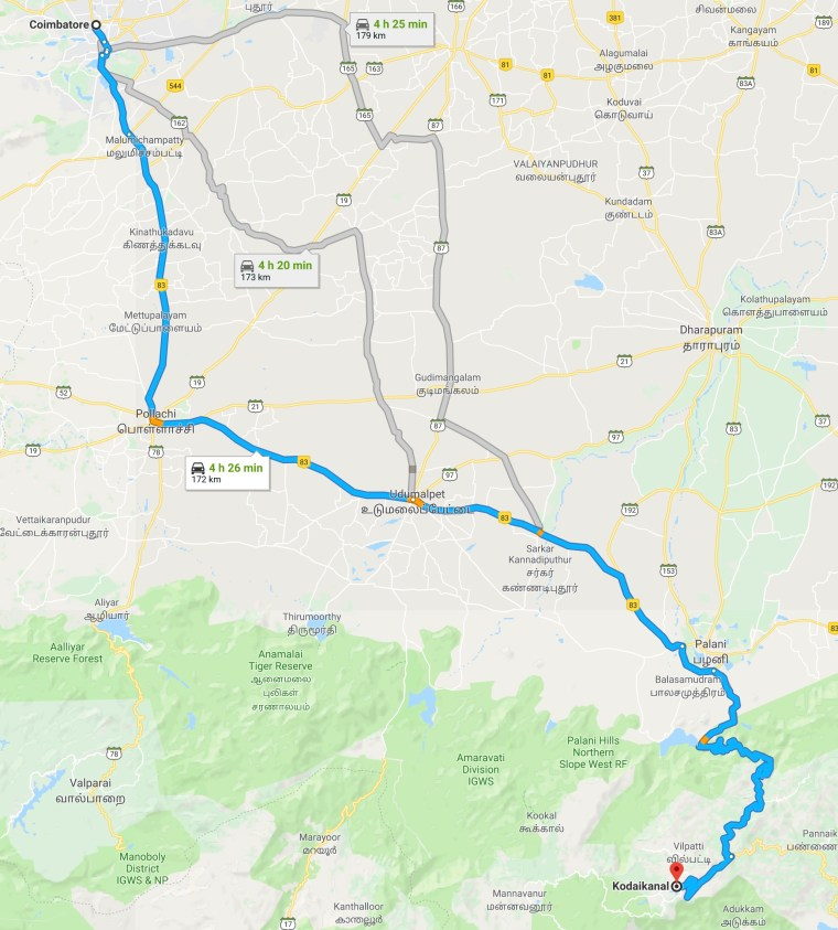 Coimbatore To Kodaikanal Route Map