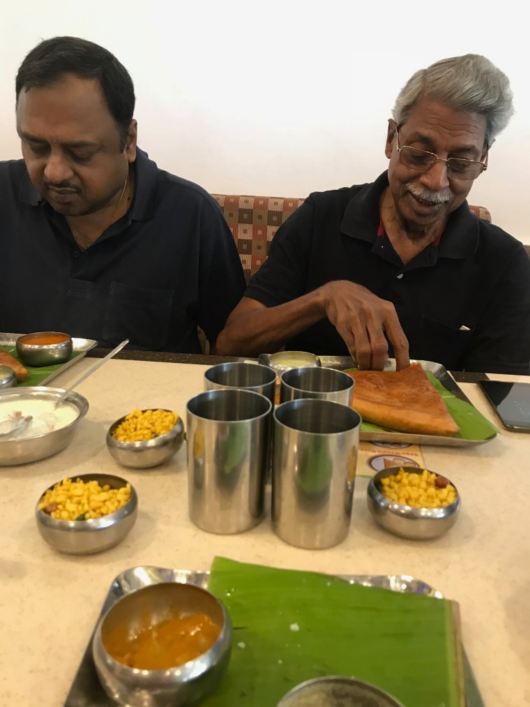 Baba and I eating Sagoo Dosa
