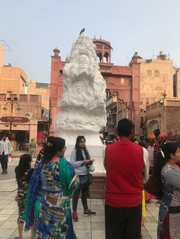 Sculpture outside the Jalianwala Bagh in the market place