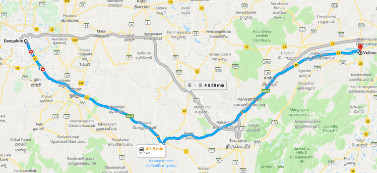 Bangalore to Vellore Road Map