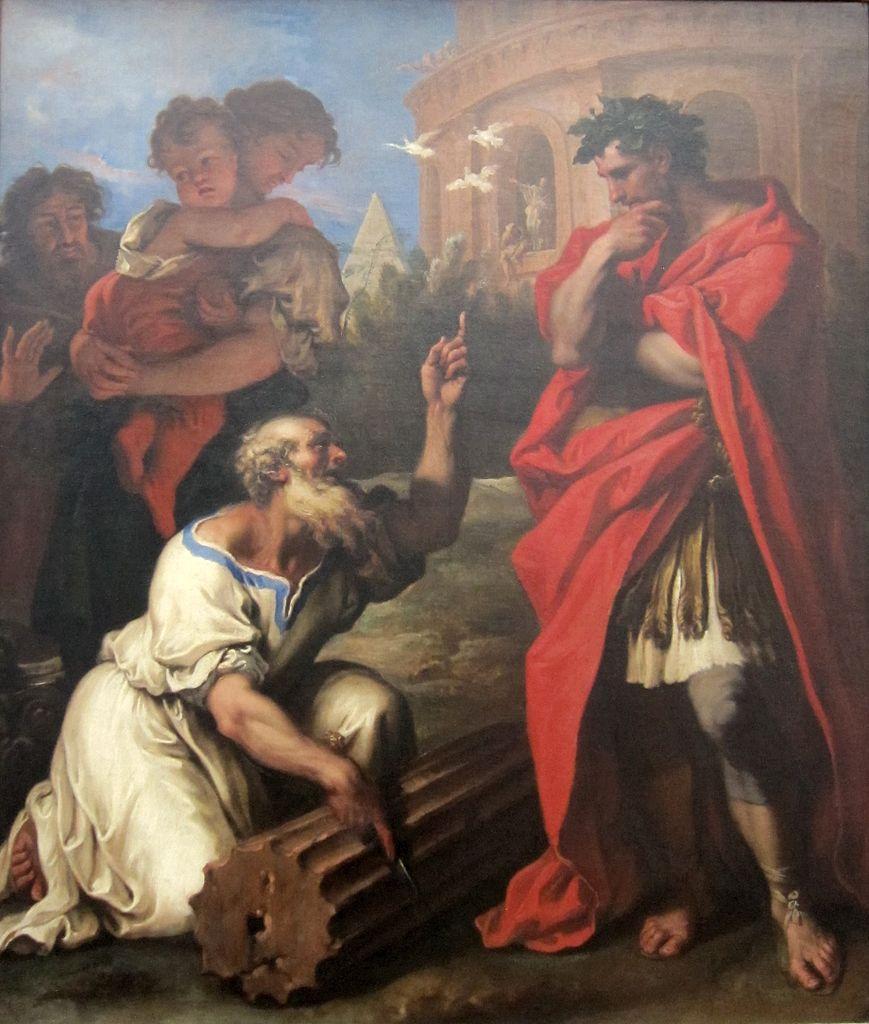 Sebastiano Ricci c. 1690 Tarquin the Elder Consulting Attius Navius