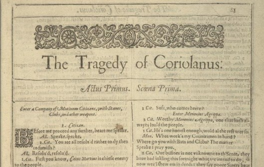 In an attempt to save depictions of Coriolanus and his relations for where they fit in the historical narrative, we offer a snippet from the First Folio of Shakespeare here.