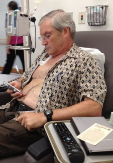 Chris Hutchins during a chemo session