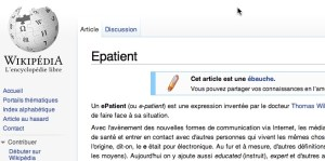 Screen capture of French Wikipedia entry