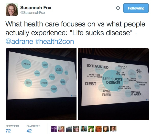 Susannah Fox's tweet about Alex Drane's slides