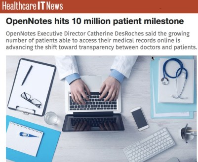 OpenNotes healthcare IT news screen capture