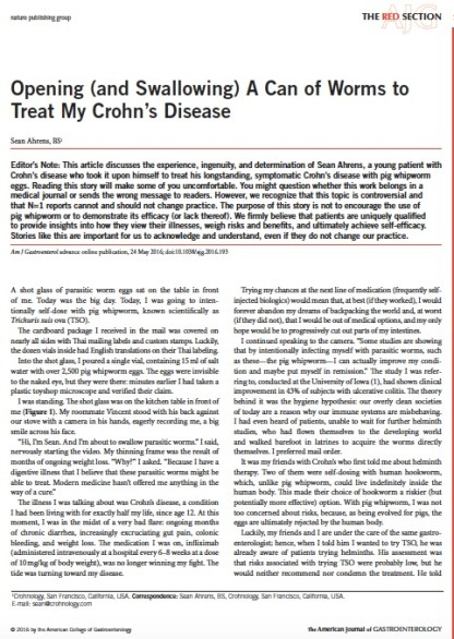 Sean Ahrens article in American Journal of Gastroenterology