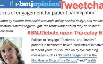 """#BMJDebate tweetchat: """"terms of engagement"""" for patient voices, noon Thursday ET"""