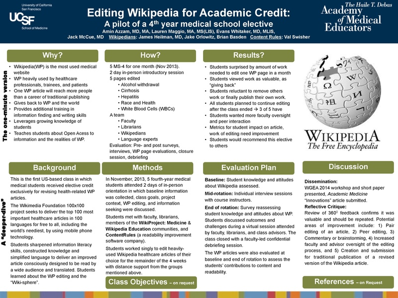 "WikiProject Medicine three years on: ""converting clinicians to active digital contributors"""