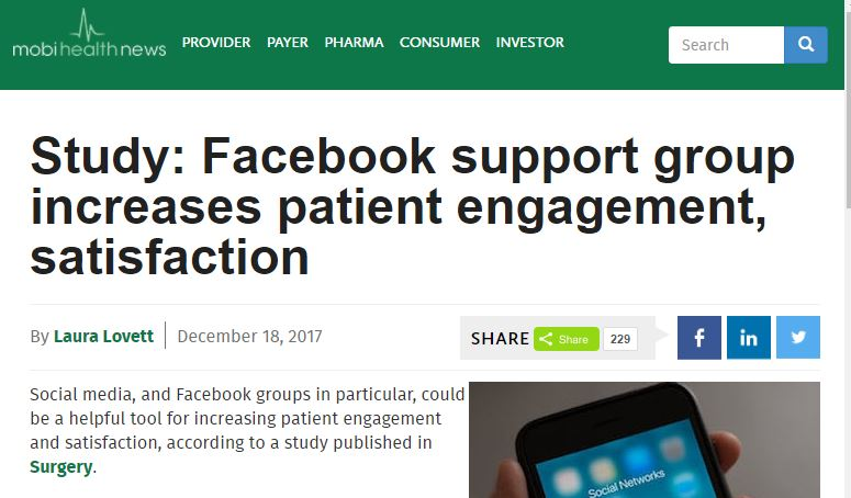 Study: Facebook support group increases patient engagement, satisfaction. Who knew?? (Patients.)