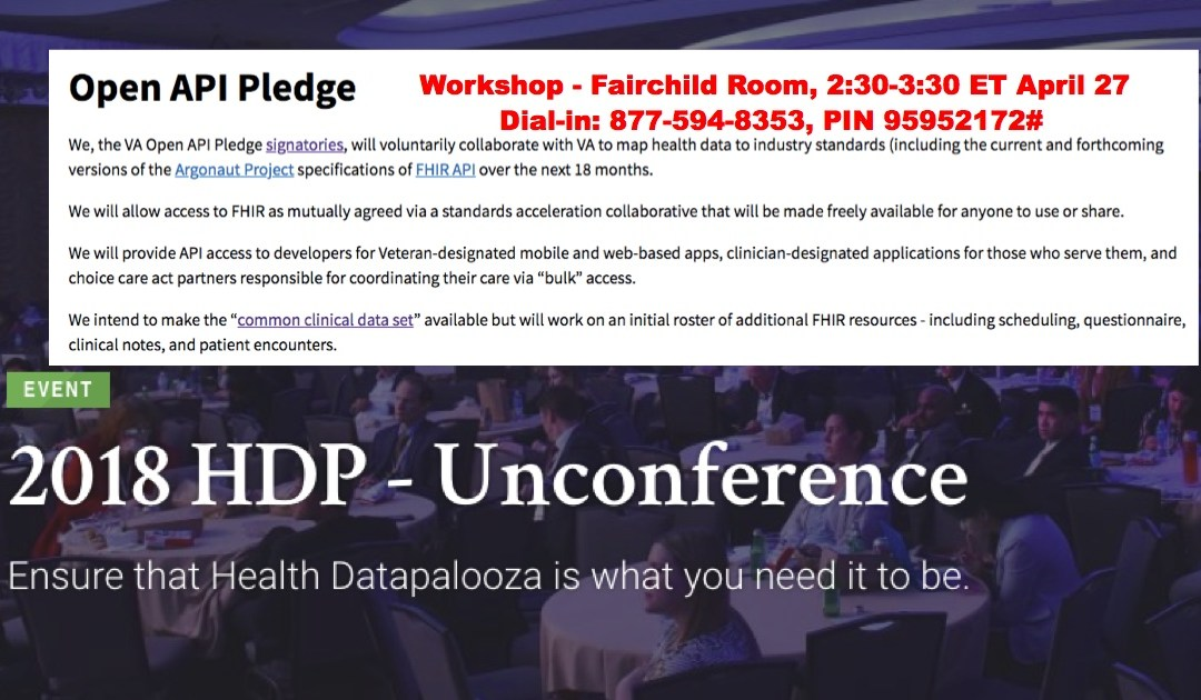 "Join the VA's ""Open API Pledge"" session at Health Datapalooza"