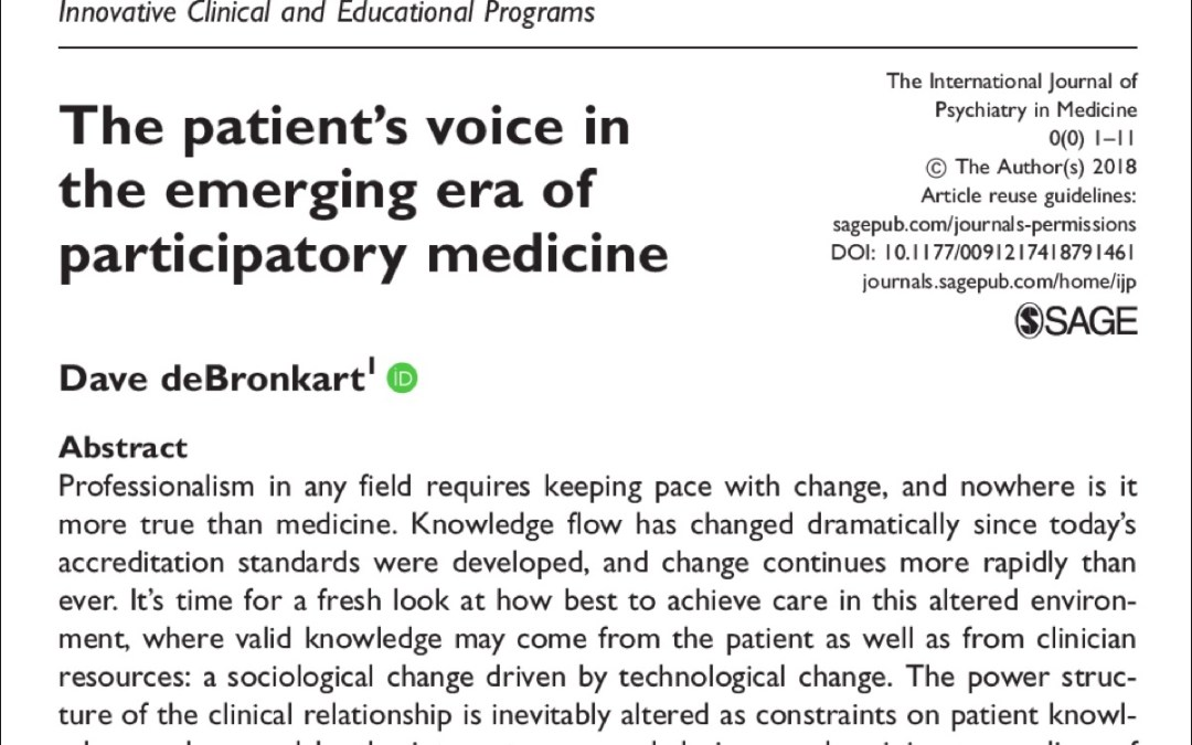 Lead article in influential journal proposes weaving participatory medicine into clinician education