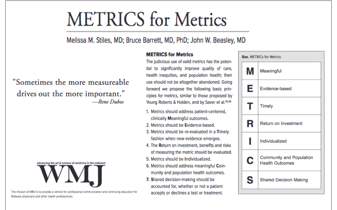 "A ""METRIC"" of Progress for Participatory Medicine. Join us at #SPM2018"