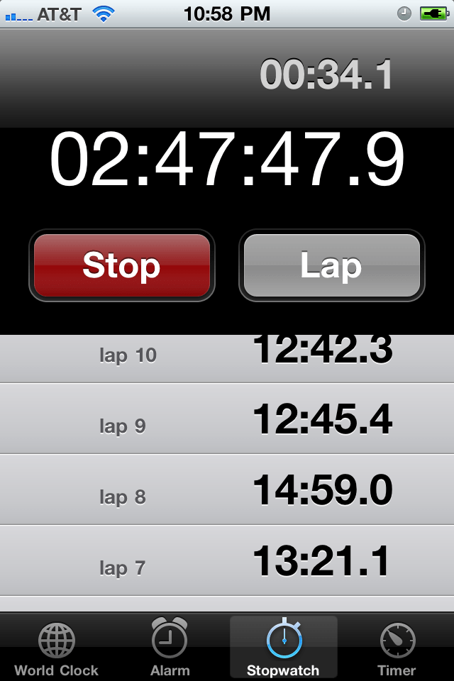 Loving my stop watch app on the iPhone for timing contractions...so perfectly useful!