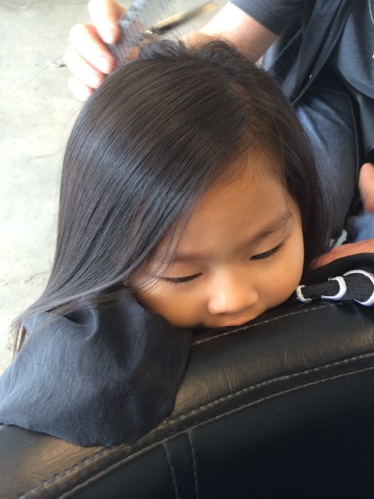 yes, this ocd mom let her cranky baby chew on the salon chair in trade for 2 seconds of stillness