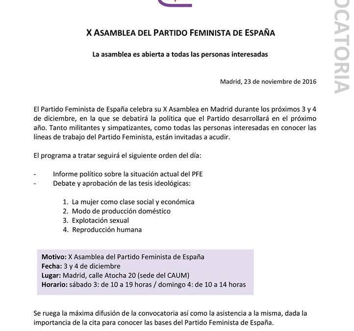 Informe político de la X Asamblea del Partido Feminista de España