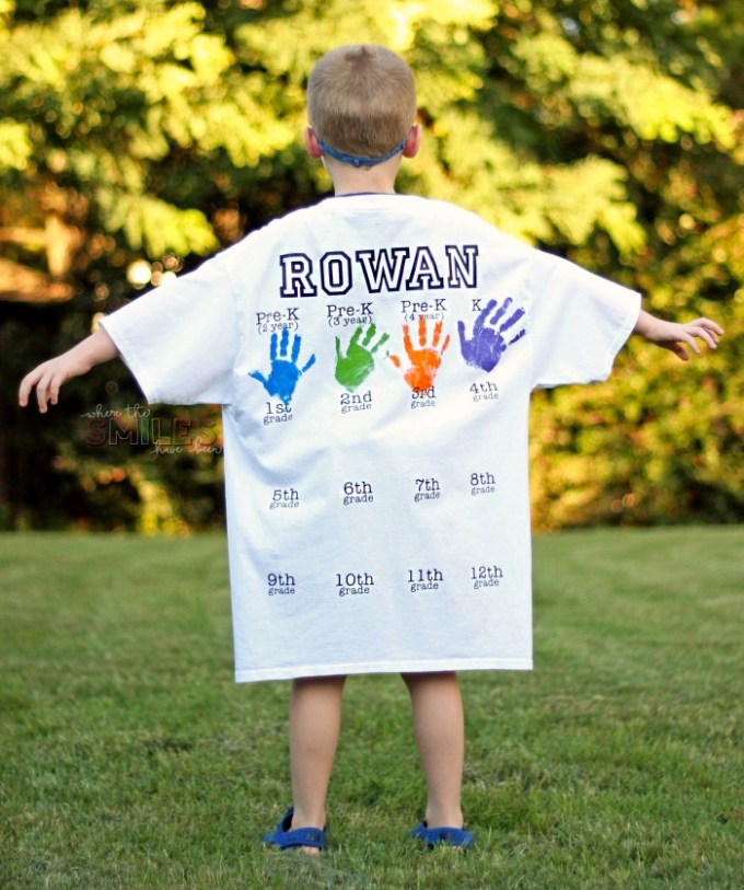 This back-to-school shirt with handprints has been such a fun way to document the beginning of every school year for my son! Learn all about how I DIYed this photo prop/keepsake shirt and make one for your own kiddo…it'll be so fun to display at their high school graduation party!