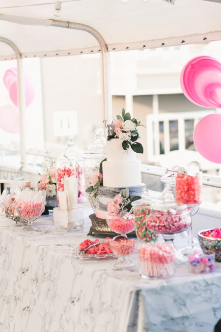 This 21st Birthday Party on a yacht is sure to inspire your next milestone birthday party! With a marble and blush theme, this party was filled with modern decorations and elegant details. | 21st Birthday Ideas | 21st Birthday Party Themes | 21st Birthday Party Decorations