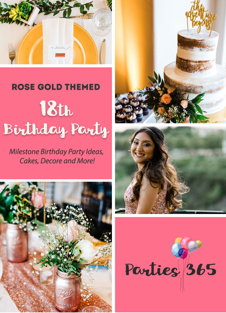 If you're looking for 18th Birthday Party Ideas, we have a stunning rose gold themed combo 18th Birthday and Graduation Party for you! Check out the decor, food and more here! | Graduation Party Decorations | Rose Gold Party Ideas |18th Birthday Party Outfit